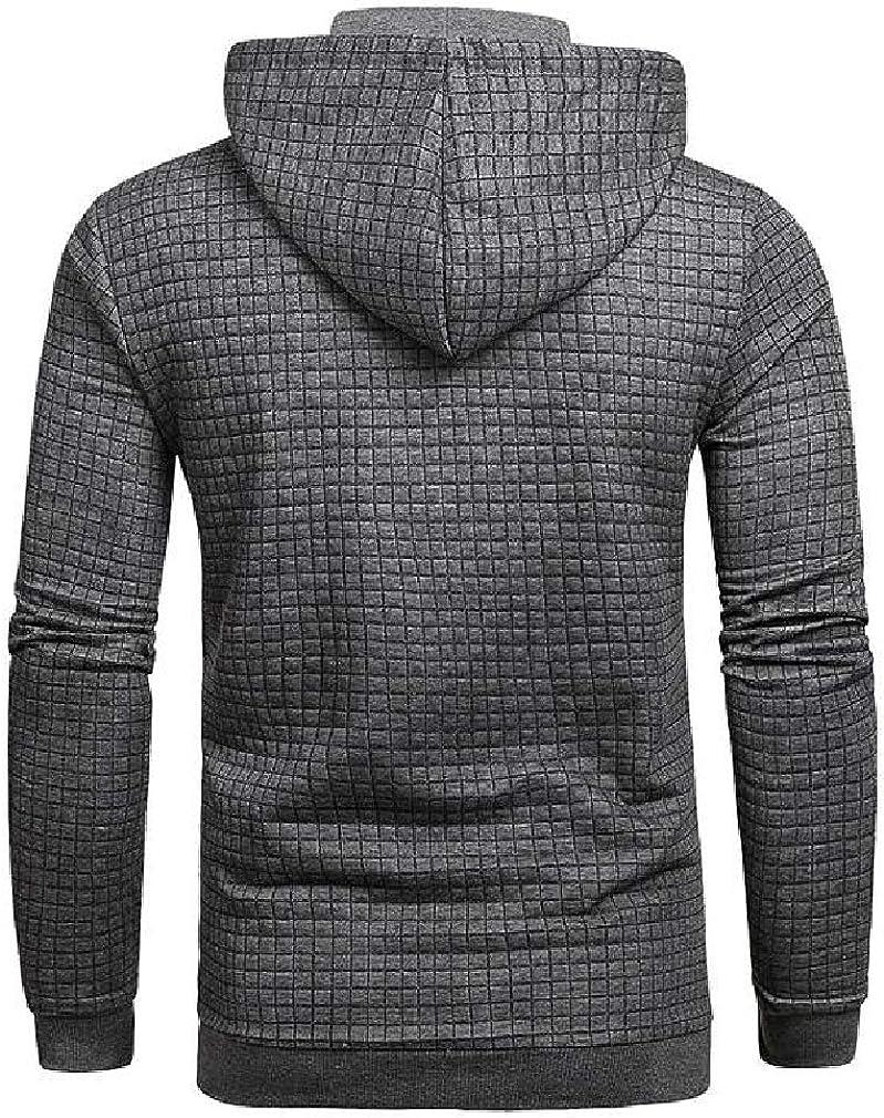 Joe Wenko Mens Drawstring Casual Waffle Long Sleeve Pullover Hooded Sweatshirts