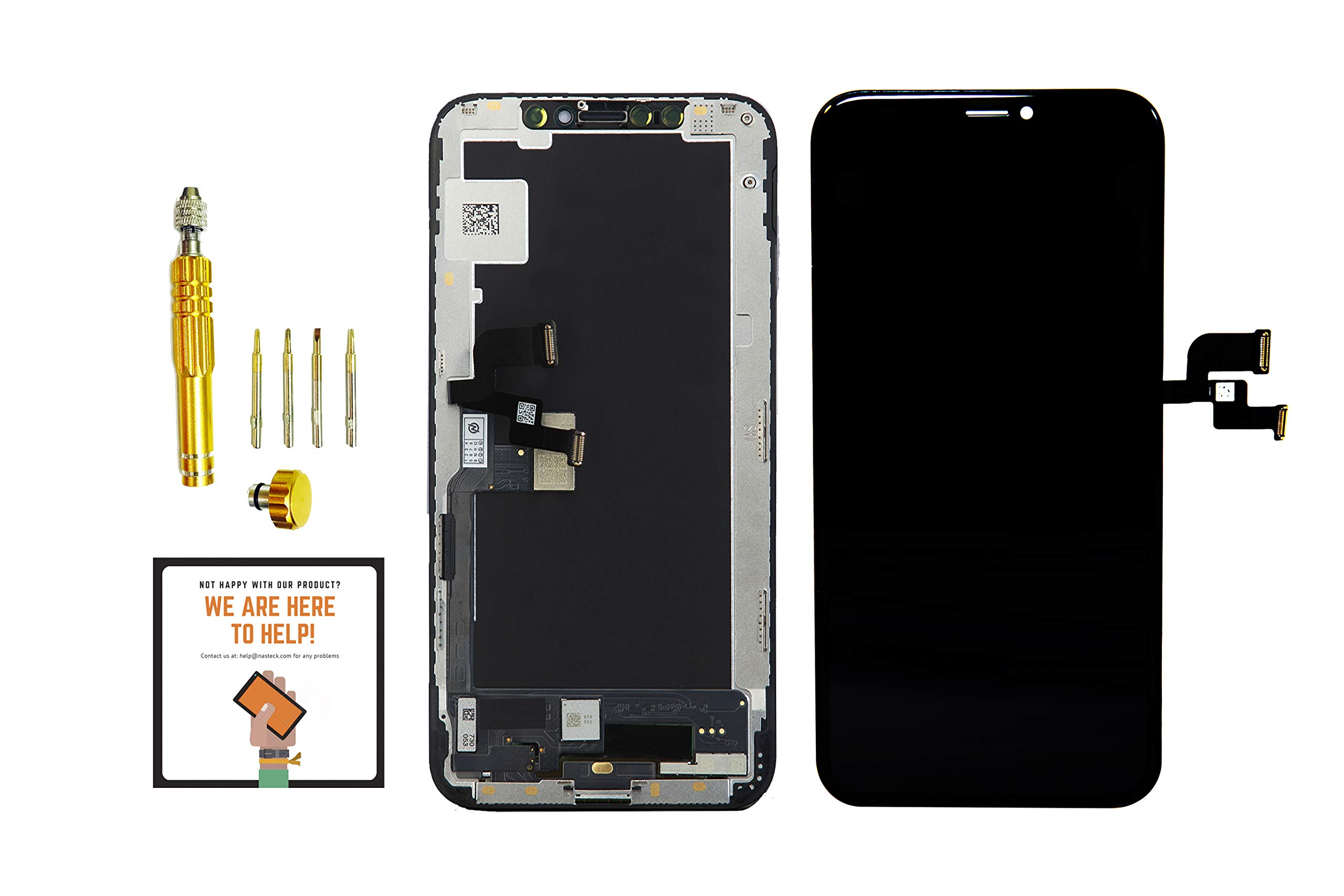 for iPhone Xs AMOLED OLED Screen Replacement Touch Digitizer (5.8'') [NOT LCD] Replacement Frame Assembly Black for iPhone Xs A1920, A2097, A2098, A2100 with Professional Tool kit (Nasteck)