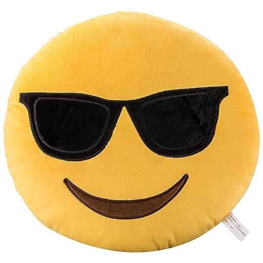 Cool gafas de sol Emoji Soft Stuffed Plush Cushion Pillow - 35x35x8cm Grande Suave Emoticono Cojín Almohada de Peluche Felpa Almohadilla - Regalo Para ...