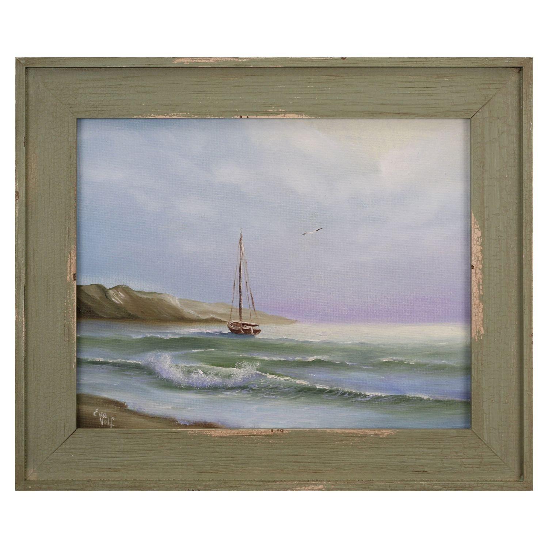 amazon com original sailboat oil painting ship sea sunrise