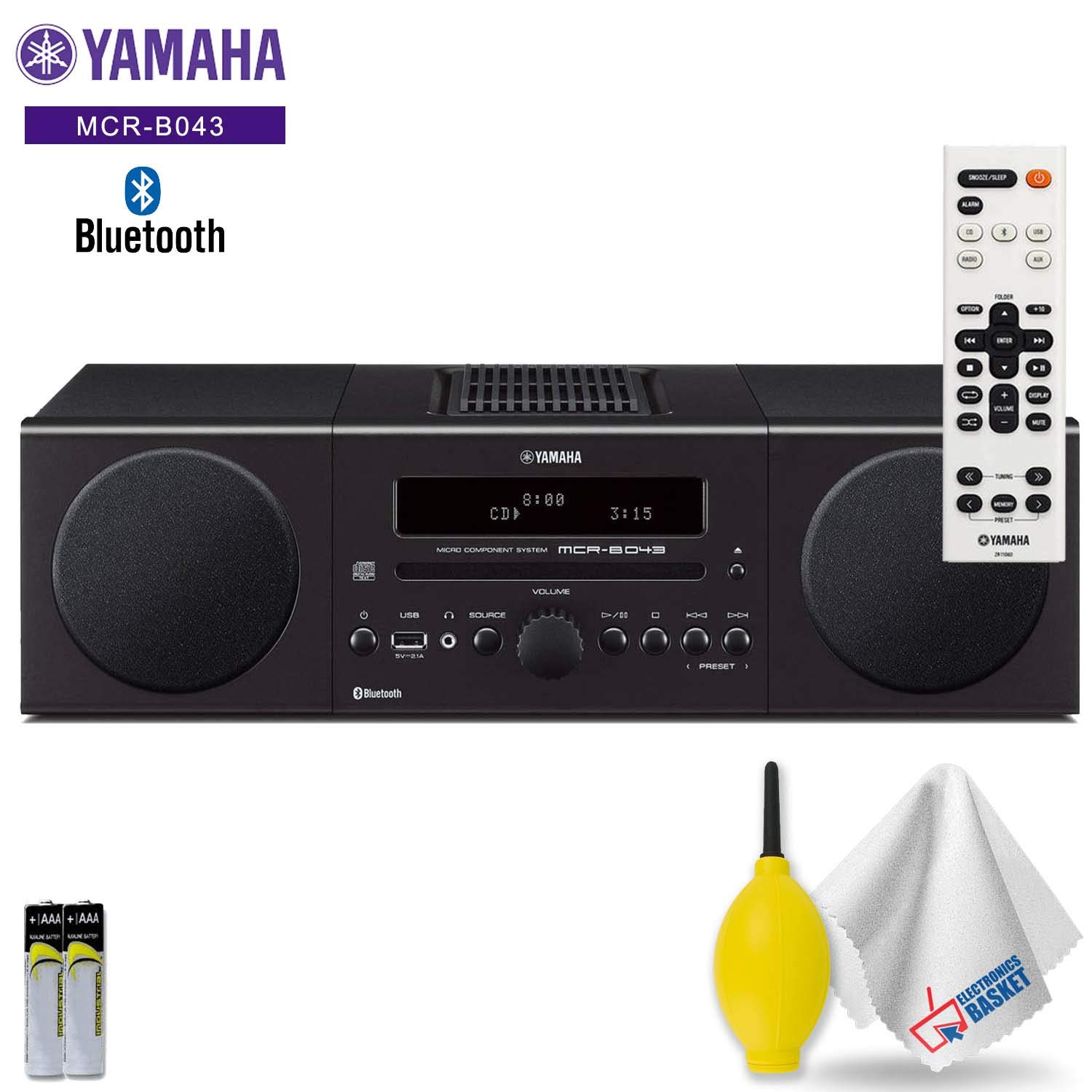 Yamaha MCR-B043 30W Bluetooth Wireless Music System (Black) Acessory Kit - Includes - Cleaning Kit