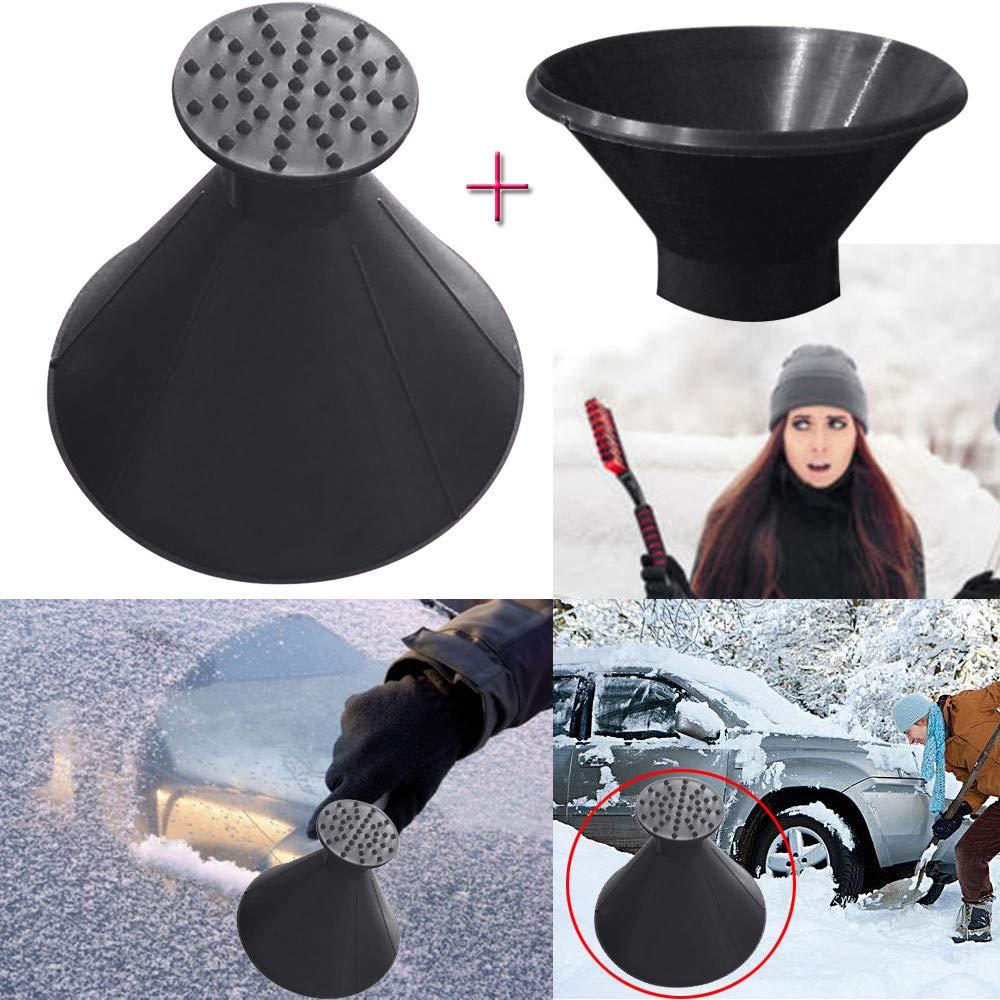 ZTY66 3Pcs Scrape A Round Magic Cone-Shaped Windshield Ice Scraper Snow Becomes A Funnel for Winter (Black)