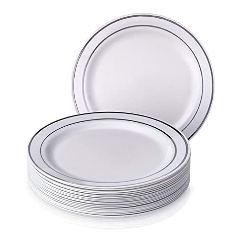 Amazoncom Disposable Party Plates Pack Of 40 Hard Plastic