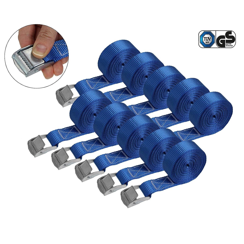 Paquete:4 piezas Correa de amarre cintur/ón de amarre con hebilla en diferentes longitudes y cantidades resistente a 250 kg DIN EN 12195-2 2.5 cm x 4 m