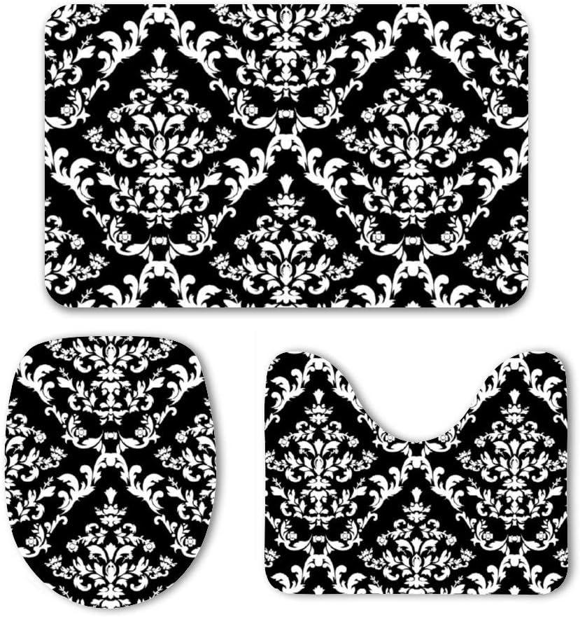Yilooom 3 Pack Bath Mat Set Brown Cowhide Print Absorbent Memory Foam Soft Shower Bath Rugs Contour Mat and Lid Cover,Non Slip Velvet Bathrug,Shower Toilet Bathmats Carpet