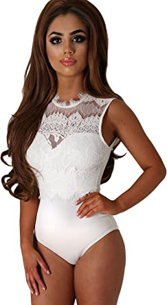 NEW White Bodysuit with Black Lace Neckline Sizes; 8 10 12