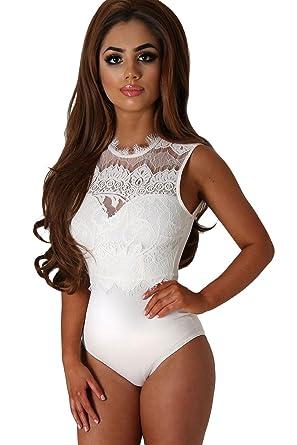 COSIVIA Women White Lace Bodysuit Elegant Round Neck Sleeveless Cut Out   Amazon.co.uk  Clothing 3ce7af189