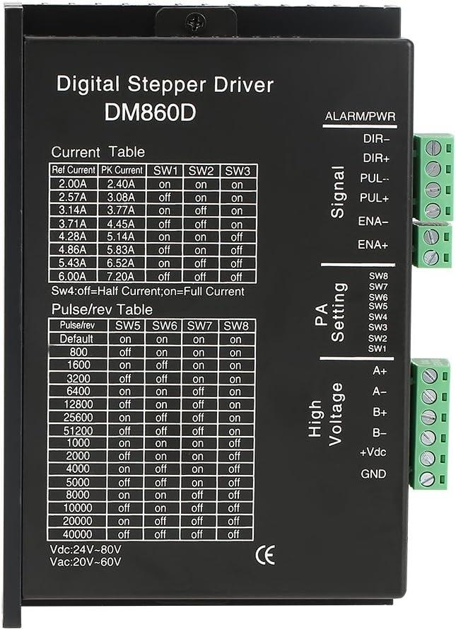 Zerone DM860D Schrittmotortreiber 256 Mikroschritte f/ür 2-Phasen-Hybrid-86-Motoren