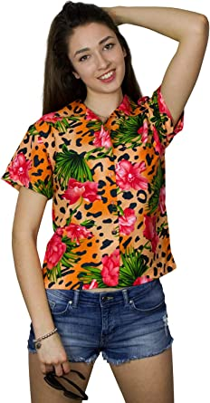 King Kameha Funky Hawaiibluse - Camisa hawaiana para mujer, manga corta, bolsillo frontal, estampado hawaiano, estampado de leopardo, flores: Amazon.es: Ropa y accesorios