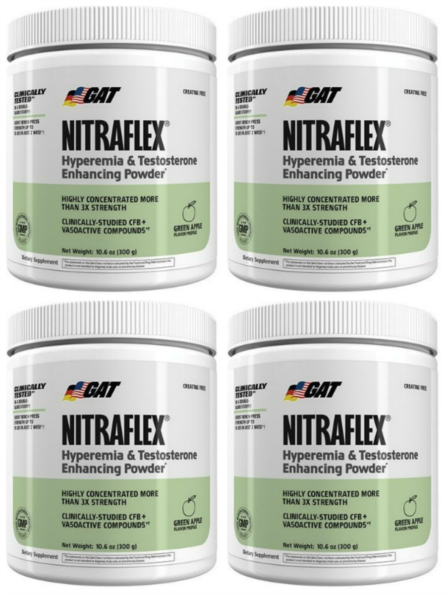 GAT Nitraflex Pre Workout 300mg, 4 PACKS (GreenApple)
