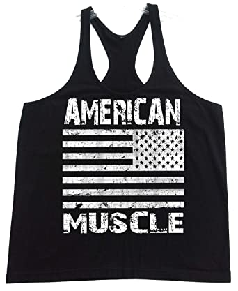 27acc73a86042 Amazon.com  Men s American Muscle Black Stringer Y Back Bodybuilding Tank  Top XS-2XL  Clothing