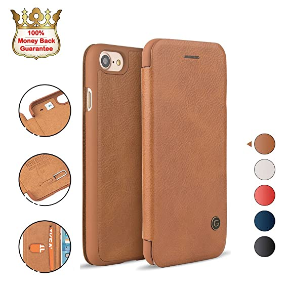 quality design 2918b 153a8 iPhone 8/7 Case Shockproof, G-CASE [Business] Ultra Slim Folio Flip Leather  Wallet Case with Card Slot for Cash/Nano SIM Card/Ejector Pin Protective ...