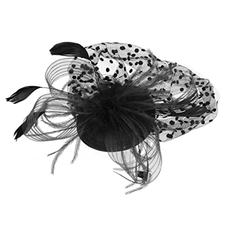 OULII Sombrero de mujer retro malla cara novia velo pluma sombrero boda pinza de pelo negro