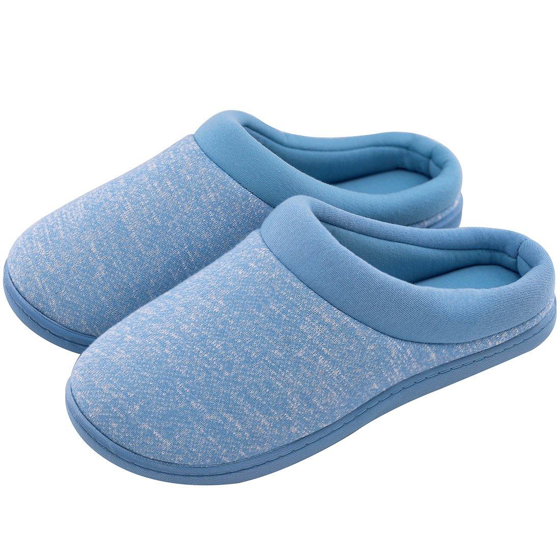 Women's Comfort Slip On Memory Foam French Terry Lining Indoor Clog House Slippers (Medium / 7-8 B(M) US, Blue)