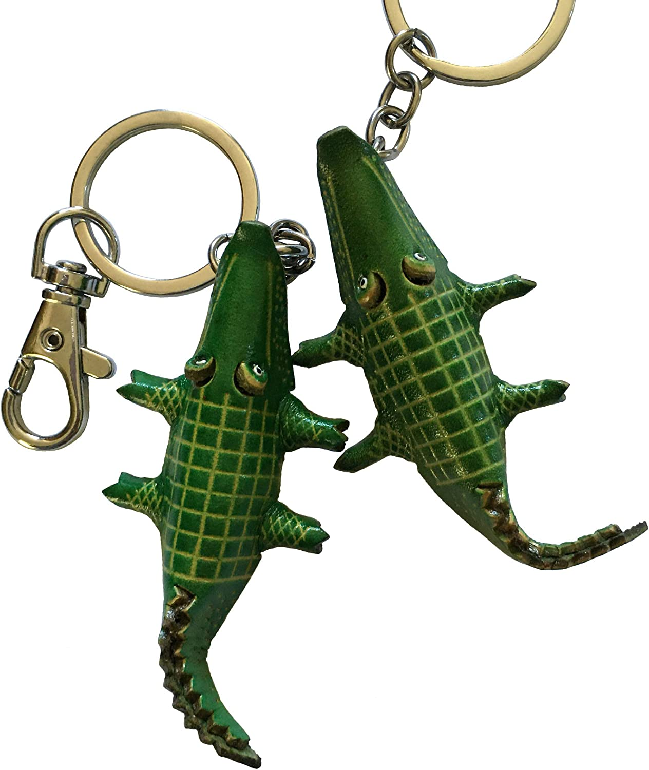 BPLeathercraft Leather Alligator Key Chains Green a Pair of Alligator Design Bag Charm 2 Pieces