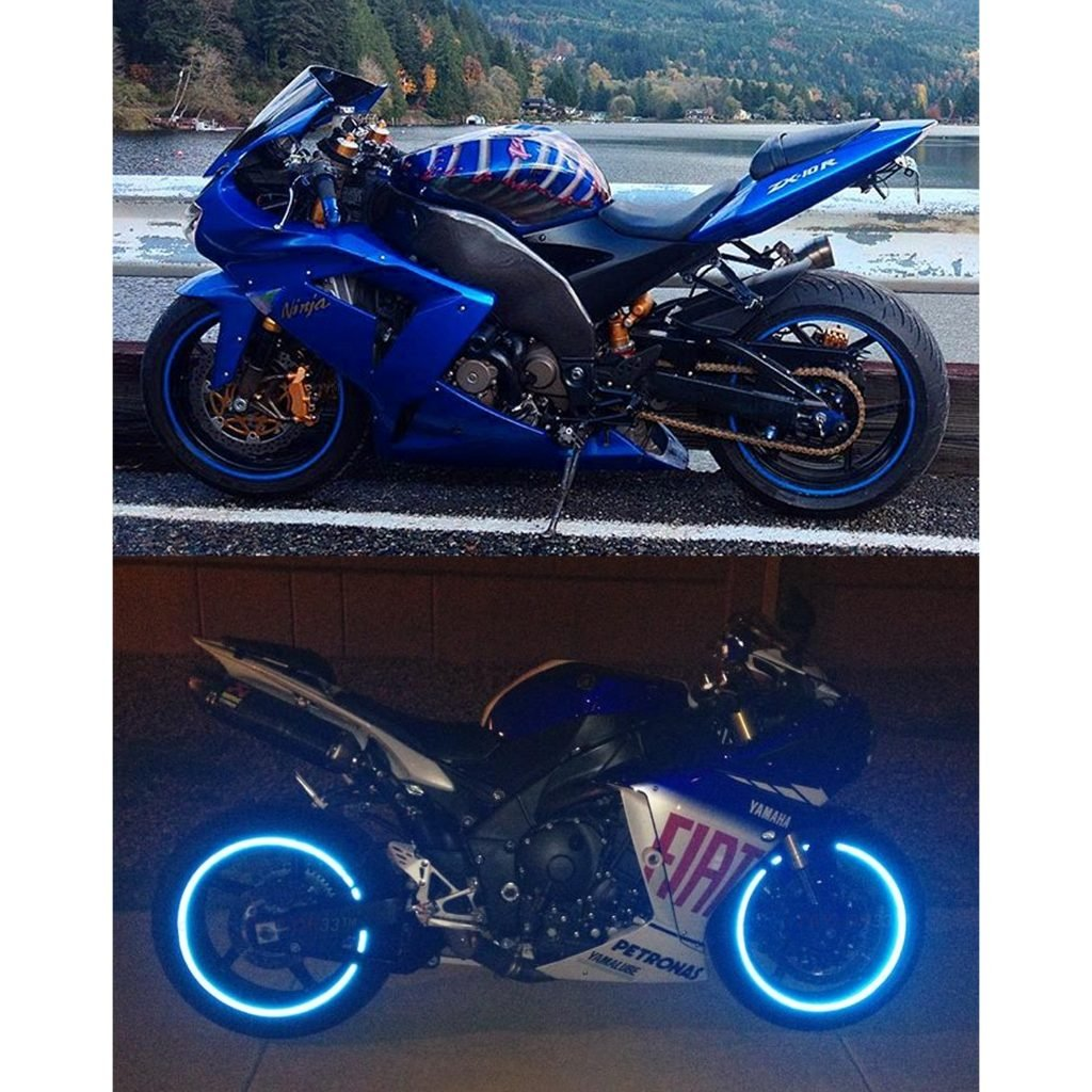 customTAYLOR33 Must select your rim size All Vehicles Blue High Intensity Grade Reflective Safety Rim Tapes Rim Size 19