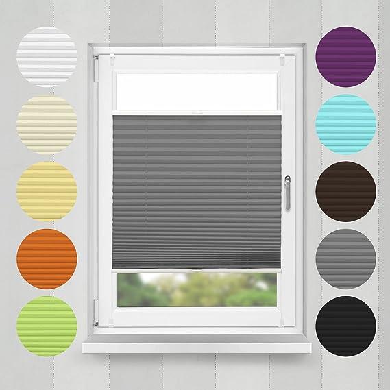 Home-Vision Plissee Faltrollo ohne Bohren mit Klemmträger / -fix (Graphit, B40cm x H100cm) Blickdicht Sonnenschutz Jalousie f