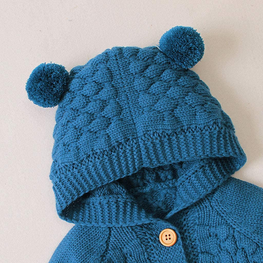 JCarry Newborn Infant Baby Girls Boys Autumn Knitted Button Sweater Coat Warm Winter Hooded Jacket Outwear Clothes