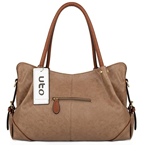 UTO Women Handbag Set 3 Pieces Bag PU Leather Tote Small Shoulder Purse Bags  Wallet Strap Mud Color  Amazon.in  Bags a5124491d9e17