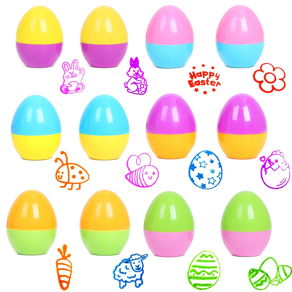 Cusfull 12 Pcs Easter Eggs Self-Inking Stampers Great for Easter Eggs Hunt Game, Theme Party, Kids Arts, Crafts, Paper Drawing Play