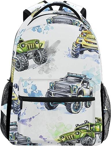 Amazon Com Giovanior Cartoon Monster Trucks Backpack School Bag Bookbag Hiking Travel Rucksack Clothing