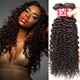 Nadula 7A Unprocessed Brazilian Curly Virgin Human Hair with Free Part Lace Closure Pack of 4 Remy Human Hair Natural Color