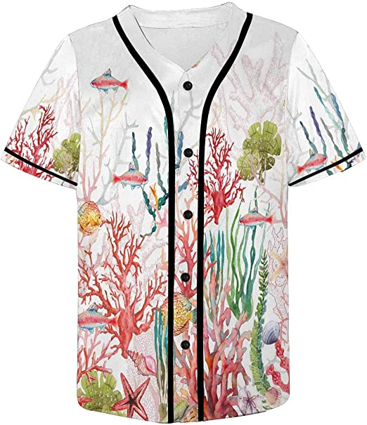 INTERESTPRINT Mens Casual Short Sleeve Baseball Shirt Jersey Shirts