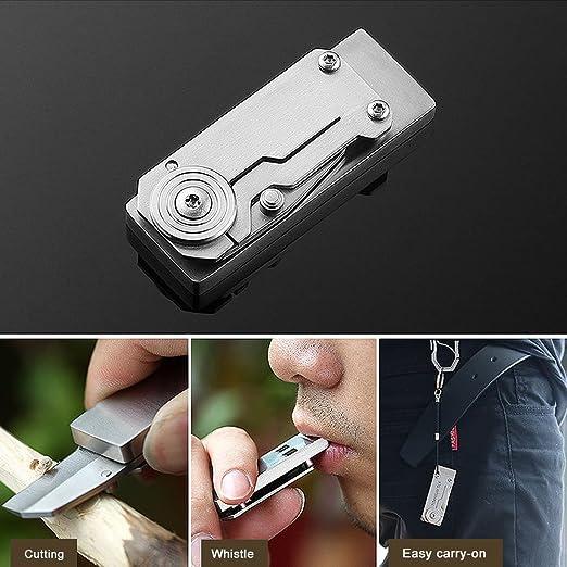 Viriber Stainless Steel Double Tubes Whistle High Decibel Outdoor Life-Saving Emergency Whistle