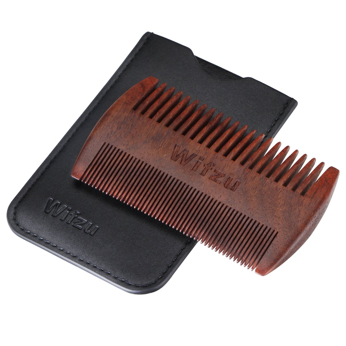 (Clearance) Anti Static Wood Pocket Comb & Black Leather Case By Wifzu,Wooden Beard Comb for men, Dual Action Beard Comb with Fine & Coarse Teeth For Beard Hair &Mustaches,Perfect for Balms and Oils Weichengfa