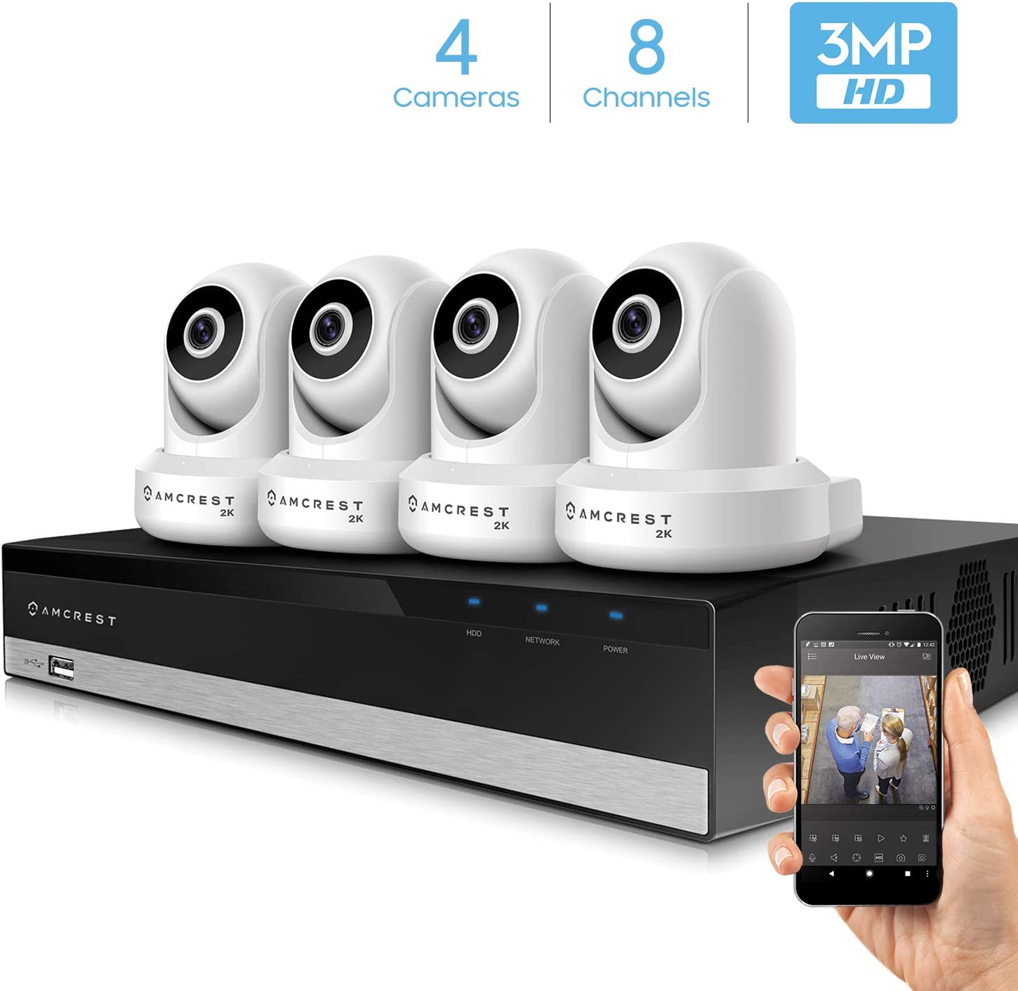 Amcrest 3MP Security Camera System w 4K 8CH NVR, 4 x 3-Megapixel Dome WiFi IP Cameras, Pan Tilt Surveillance, Dualband 5ghz 2.4ghz, Two-Way Audio, NV2108-IP3M-941W4 White