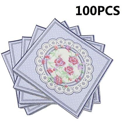 Amazon.com: 100 servilletas de papel desechables con diseño ...