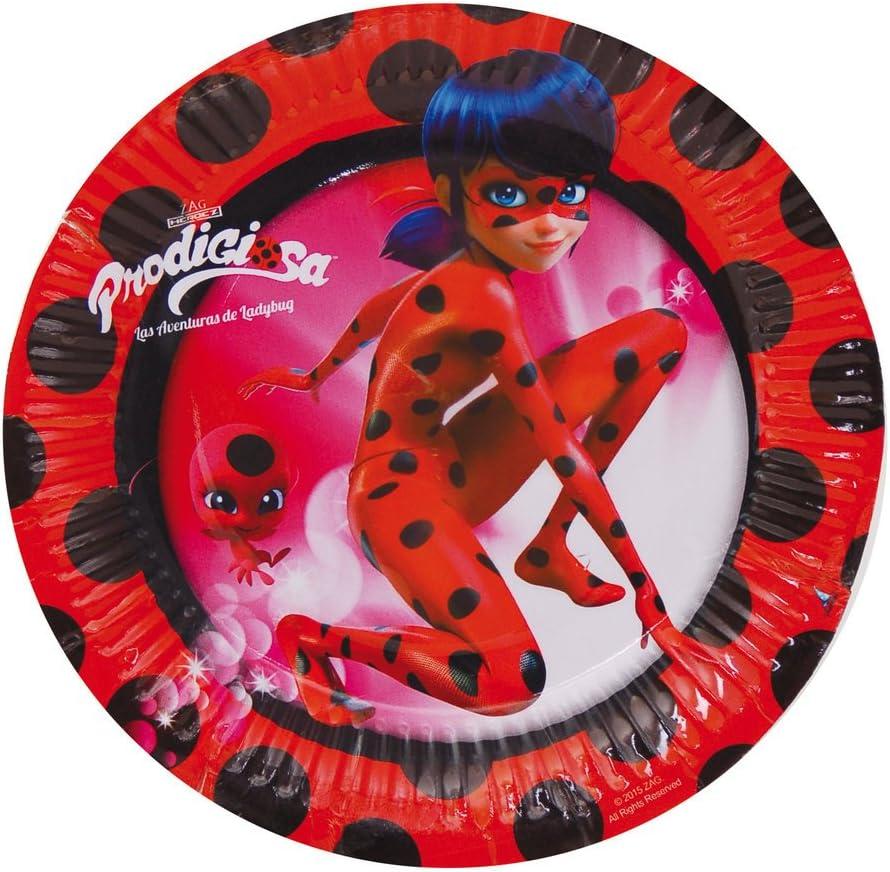 16 Teller, 16 Becher, 20 Servietten + 1 Tischdecke Kindergeburtstag Uni que Miraculous Ladybug Party Deko Set f/ür 16 Kinder