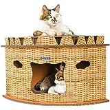 iikuru キャットハウス ダンボール 猫 ハウス キャットタワー 爪とぎ 猫用 家 子猫 ドーム型 ベッド ペット用 ねこ ペットハウス 爪とぎベッド 春 夏 秋 用 x809