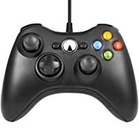 Diswoe Xbox 360 Controller USB Wired Gaming Controller Für Microsoft , Xbox 360 PC und Windows XP/ 7/ 8/10 (Schwarz)