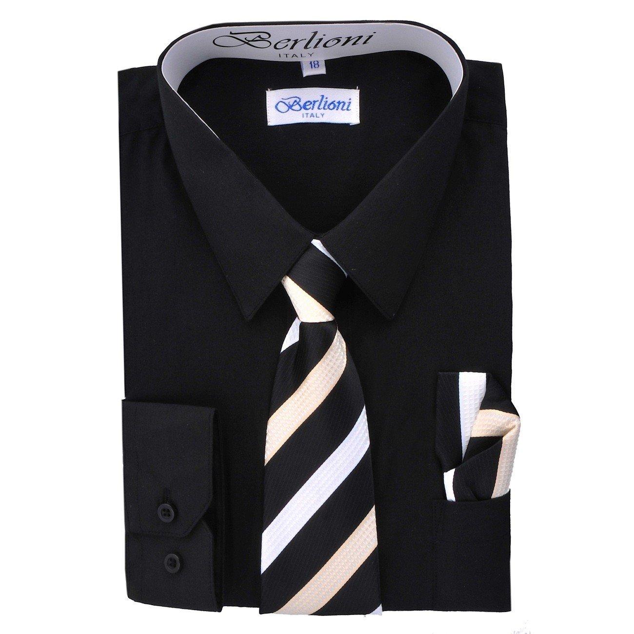 Boy's Dress Shirt, Necktie, and Hanky Set - Black, Size 12 Boy' s Dress Shirt 700A-BLK-12