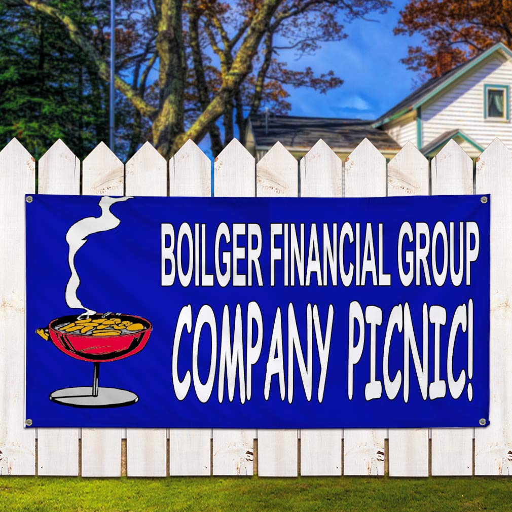 Set of 2 Multiple Sizes Available Vinyl Banner Sign Boilger Financial Group Company Picnic Marketing Advertising Blue 28inx70in 4 Grommets