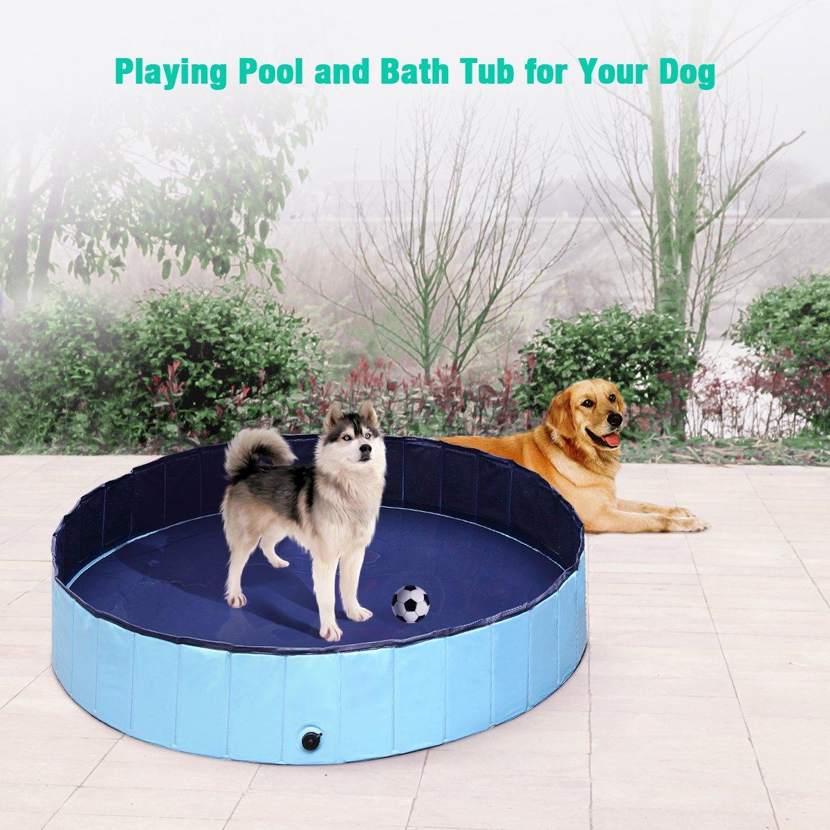 isYoung Dog Bath Pool Foldable PVC Pet/Baby Playing Pool (48inch x 12inch, Blue)