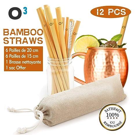 O3 - Pajita de bambú reutilizable - 12 pajitas ecológicas de ...
