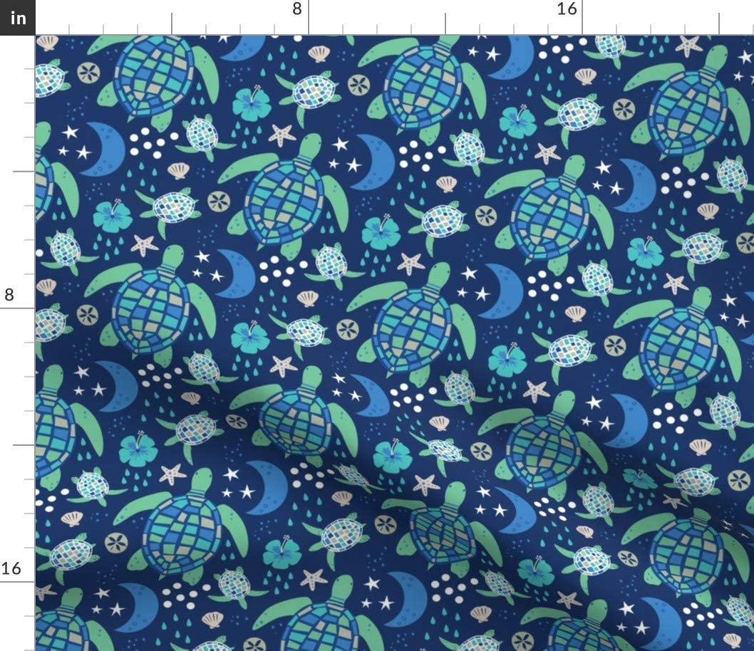 Spoonflower Fabric - Turtle Walk Ocean Sea Beach Life Nature Oceans Animal Printed on Petal Signature Cotton Fabric by The Yard - Sewing Quilting Apparel Crafts Decor