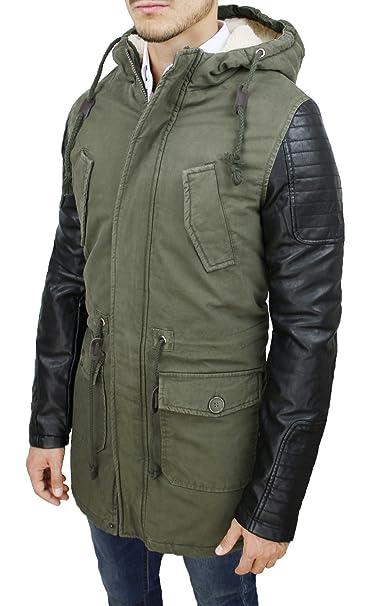 Giubbotto Parka Uomo Verde Militare Casual Giacca Invernale con Pelliccia   Amazon.it  Abbigliamento 90f2f1bfe23