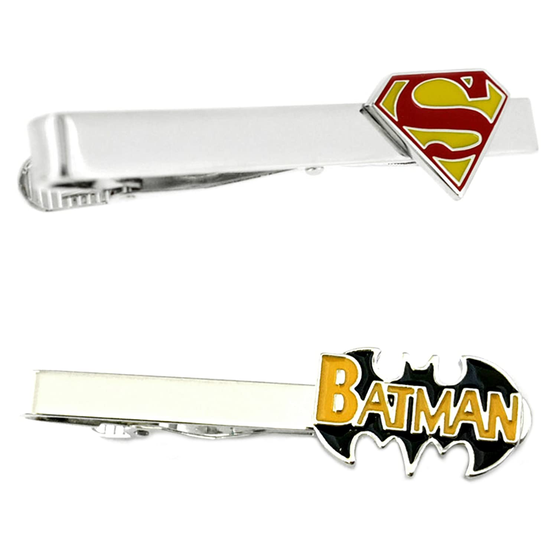 DC Comics - Superman & Batman Text Logo - Tiebar Tie Clasp Set of 2 Gift Set Wedding Superhero Logo Novelty Jewelry Series w/Gift Box