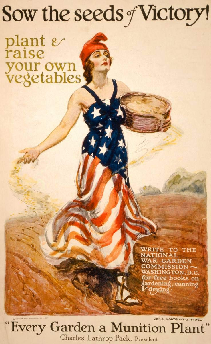 Historic Poster - Sow The Seeds of Victory! Plant & Raise Your own Vegetables - James Montgomery Flagg. - Antique Vintage Fine Art Reprint 44in x 66in by Historic Pictoric