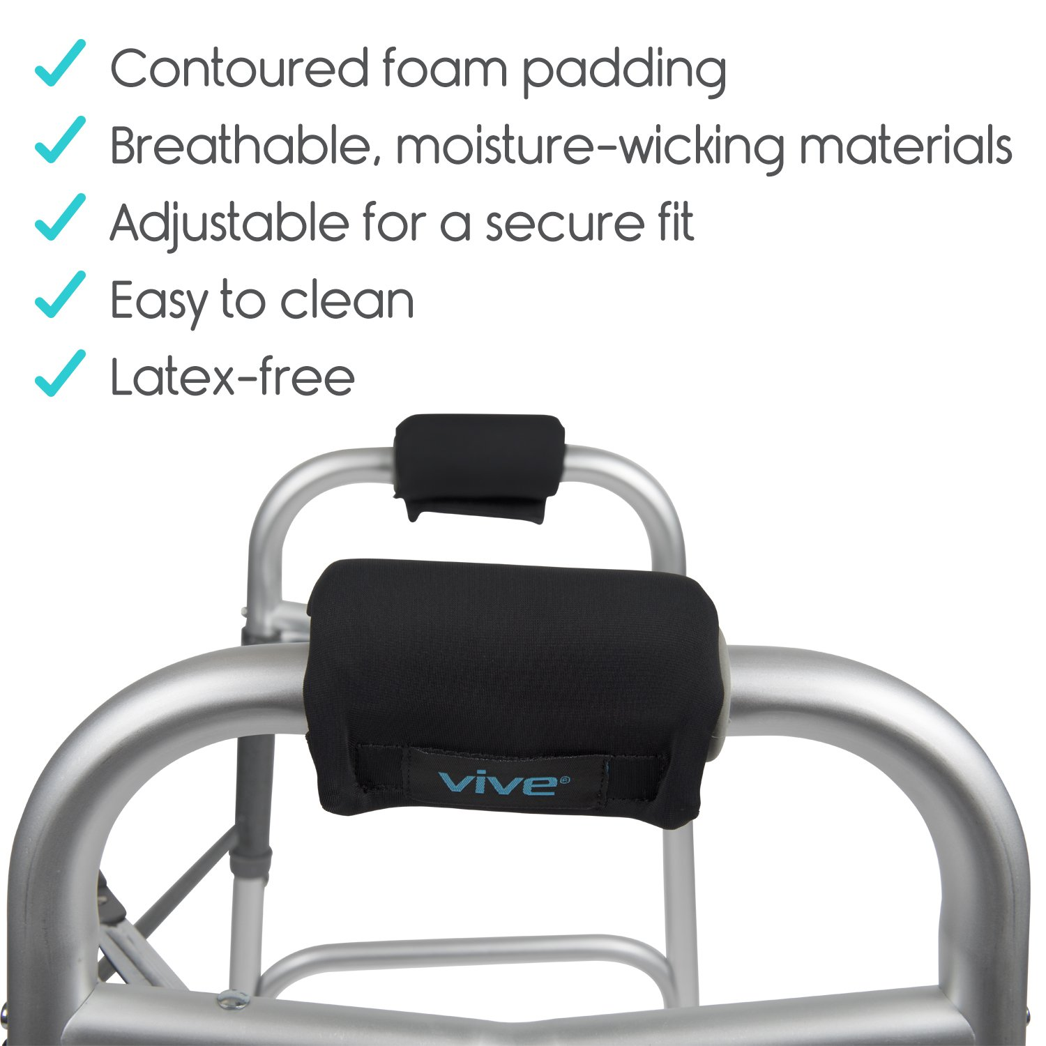 Vive Walker Padded Hand Grip Covers- Soft Cushion Padding Medical Accessories for Folding Rolling Walker, Rollator Handle, Senior, Elderly Grippers - Crutch Handle Pads - Mobility Aid Hand Cushion by Vive (Image #7)