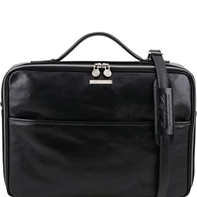 Tuscany Leather - Vicenza - Leather laptop briefcase with zip closure Black  - TL141240 2 5edd76dea77
