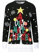 Femmes Dames clignotant son 3D nouveauté Noël imprimé Rudolph Star Angle tricoté jumper Top