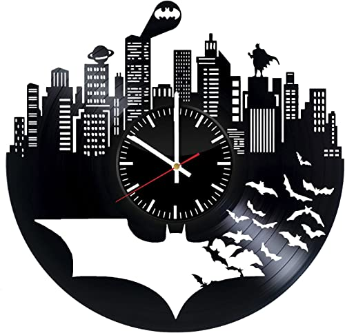 Batman Vinyl Records Wall Clock – Superhero Original Present For Movie s Fans – Wall Art Room Decor Handmade Decoration Party Supplies Theme Birthday Gift – Vintage And Modern Style