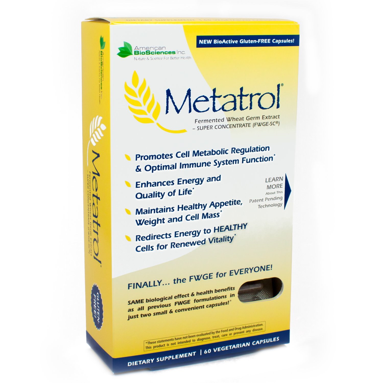 American BioSciences Metatrol Fermented Wheat Germ Extract, Super Concentrate (FWGE-SC) 41 mg, Dietary Supplement - Works Fast To Support Healthy Aging, Longevity and Enhanced Energy - 60Vcaps