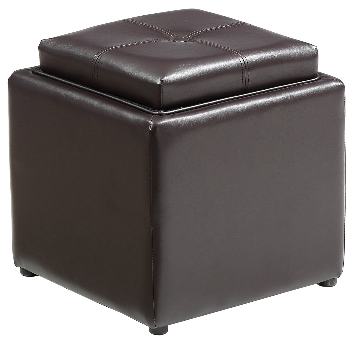 Hodedah Storage Ottoman with Wood Flip Over Tray, Brown