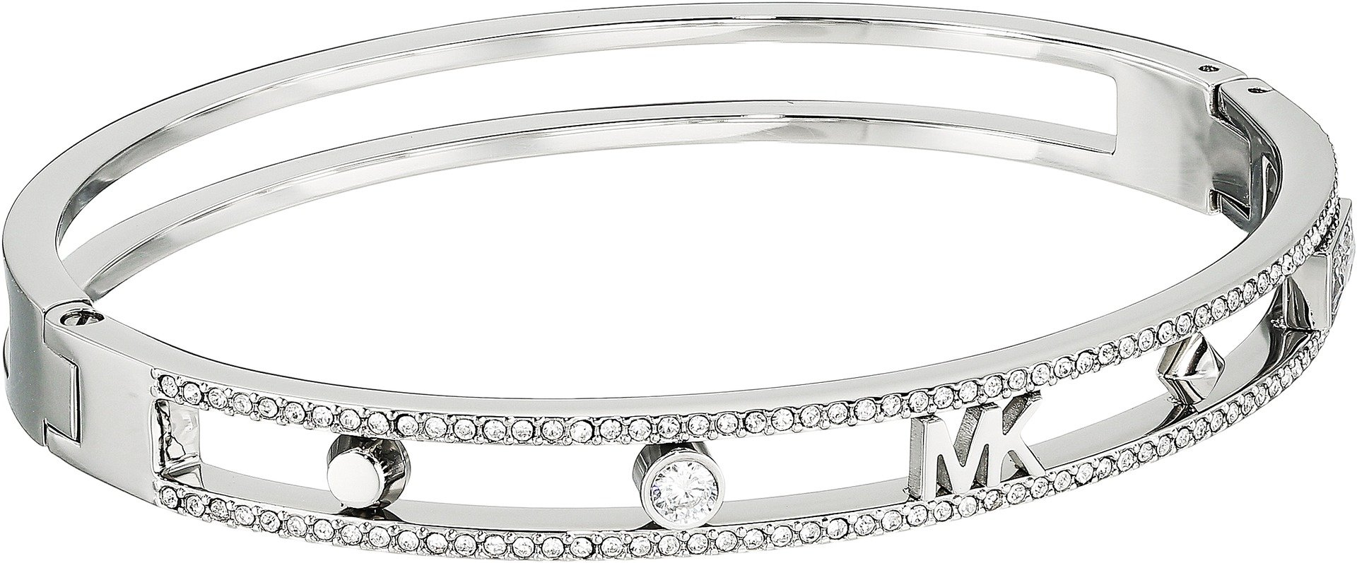 Michael Kors Women's Heritage In Full Bloom Pave Rimmed Bangle with MK Logo Silver One Size by Michael Kors