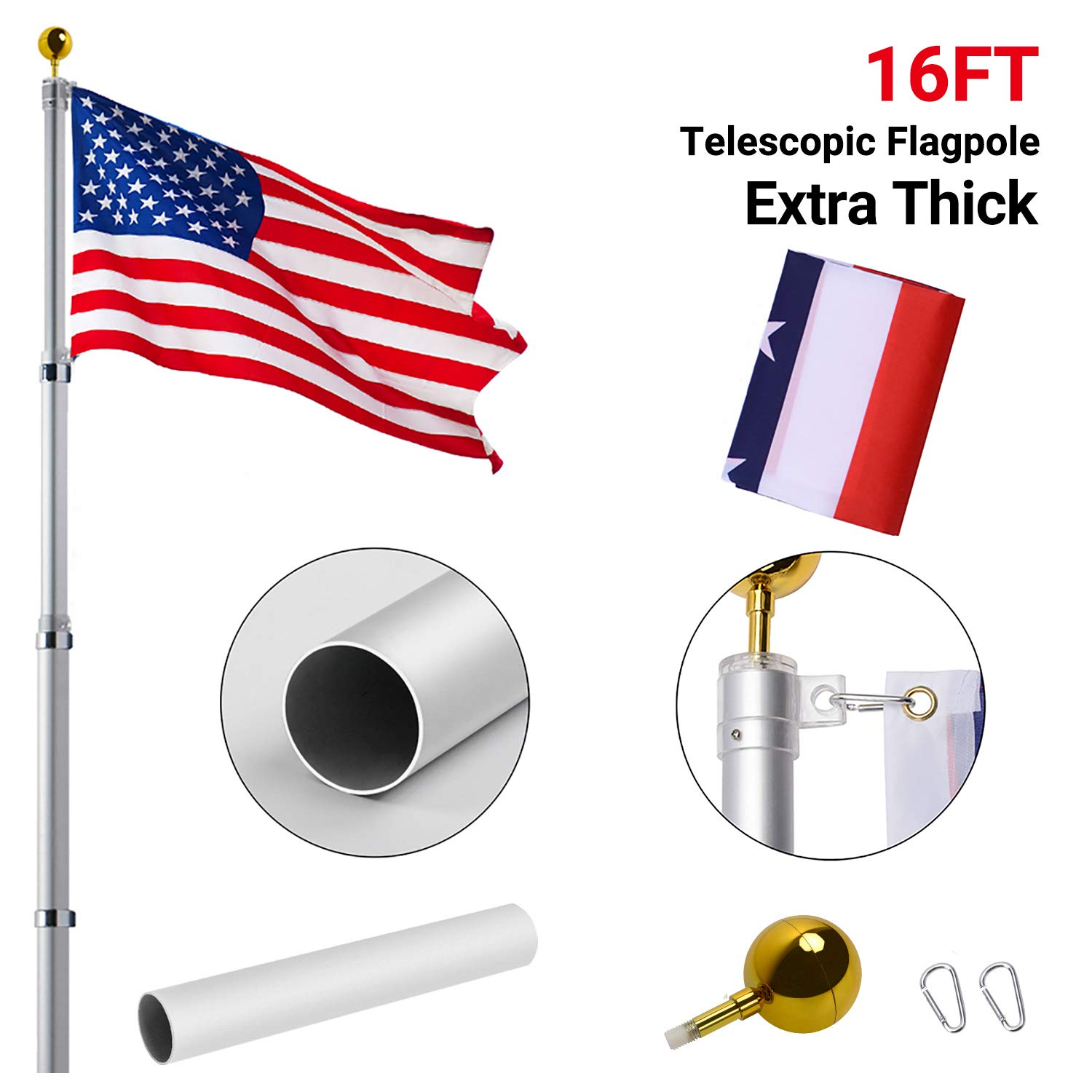 Gientan 16FT Telescopic Flag Pole, 16 Gauge Aluminum Flagpole Kit with Free 3x5 American Flag, Portable for Residential Garden Outdoor RV